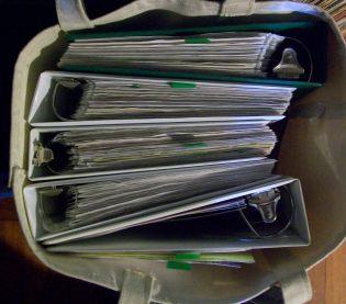 binders in bag