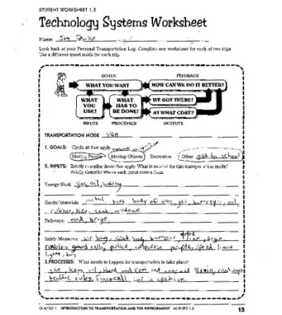 transportation technology systems worksheet